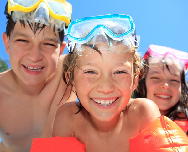 Happy children with goggles
